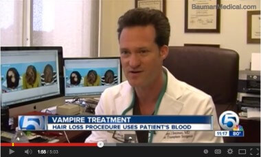 Watch NBC News Channel 5 Segment on Vampire PRP Hair Regrowth Treatment Featuring Dr. Bauman