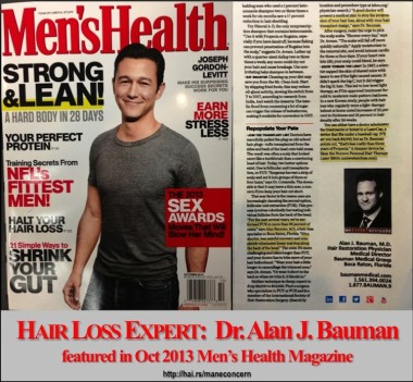 "Men's Health Magazine ""NeoGraft FUE Hair Transplant"" article features Dr Bauman"