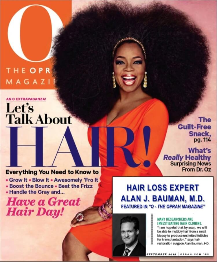 O – The Oprah Magazine hair transplant article quotes Dr Bauman