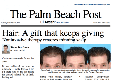 "The Palm Beach Post ""Hair: A gift that keeps giving"" article features Dr Bauman"