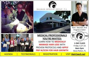 HairCoachMD Banner Bauman 3 27 15 300x192 Dr. Bauman Teaching Physicians how to Manage Patient Hair Loss