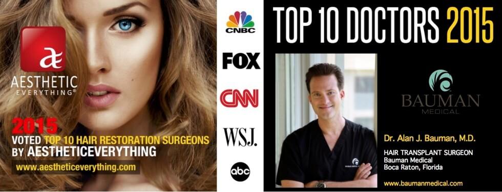 DrAlanBauman top ranked best hair transplant surgeon AE horiz 980x375 Dr. Bauman Voted Top Hair Transplant Surgeon