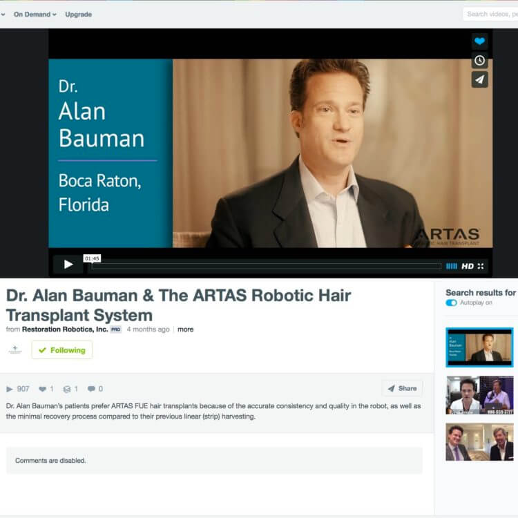 Watch video: Dr. Bauman discusses the benefits of an ARTAS robotic assisted hair transplant procedure.