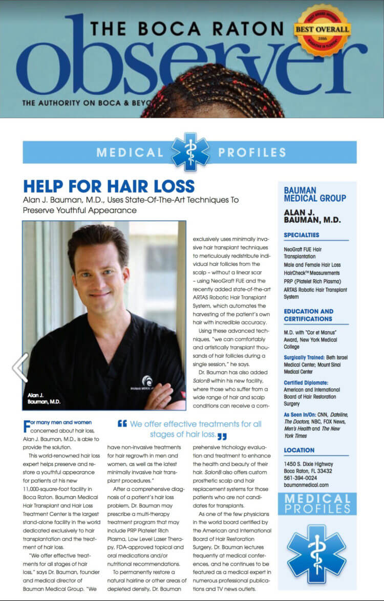 Dr. Alan J. Bauman, M.D. featured in The Boca Raton Observer