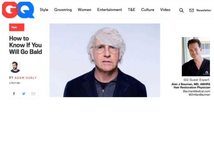 ARTICLE: How to Know if You Will Go Bald w/ GQ Guest Expert Dr Alan Bauman