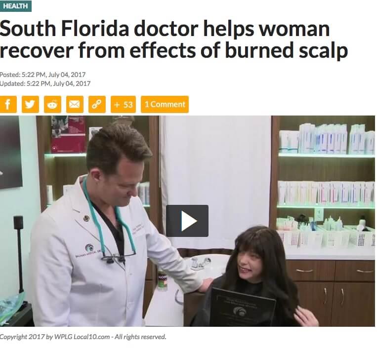 Misty scalp burn survivor hair restoration CNC dr alan bauman VIDEO: Burn Survivor Receives CNC Hair and Scalp Cranial Prosthesis 26 Years Later