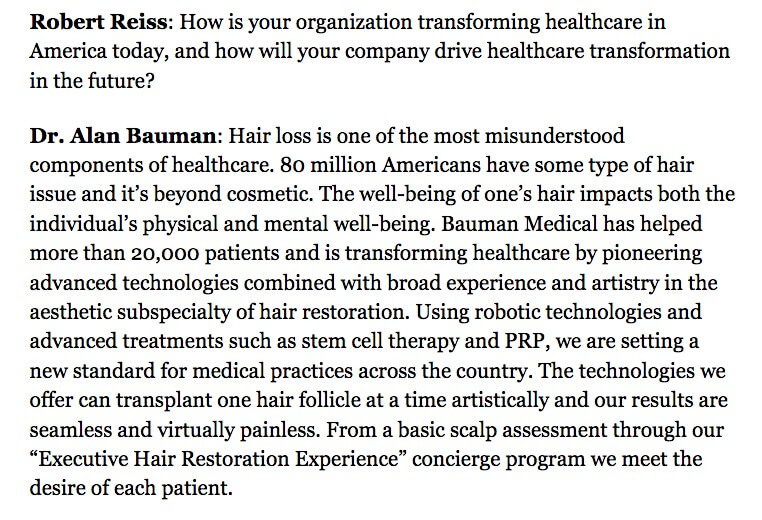 Screen Shot 2018 01 30 at 6.53.11 AM PRESS RELEASE: Dr. Alan Bauman Among Forbes 10 CEOs Transforming Healthcare in America
