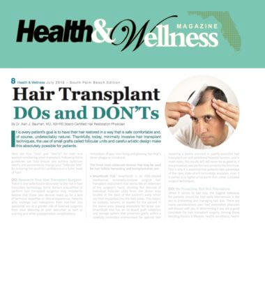 ARTICLE: Hair Transplant DOs and DONTs