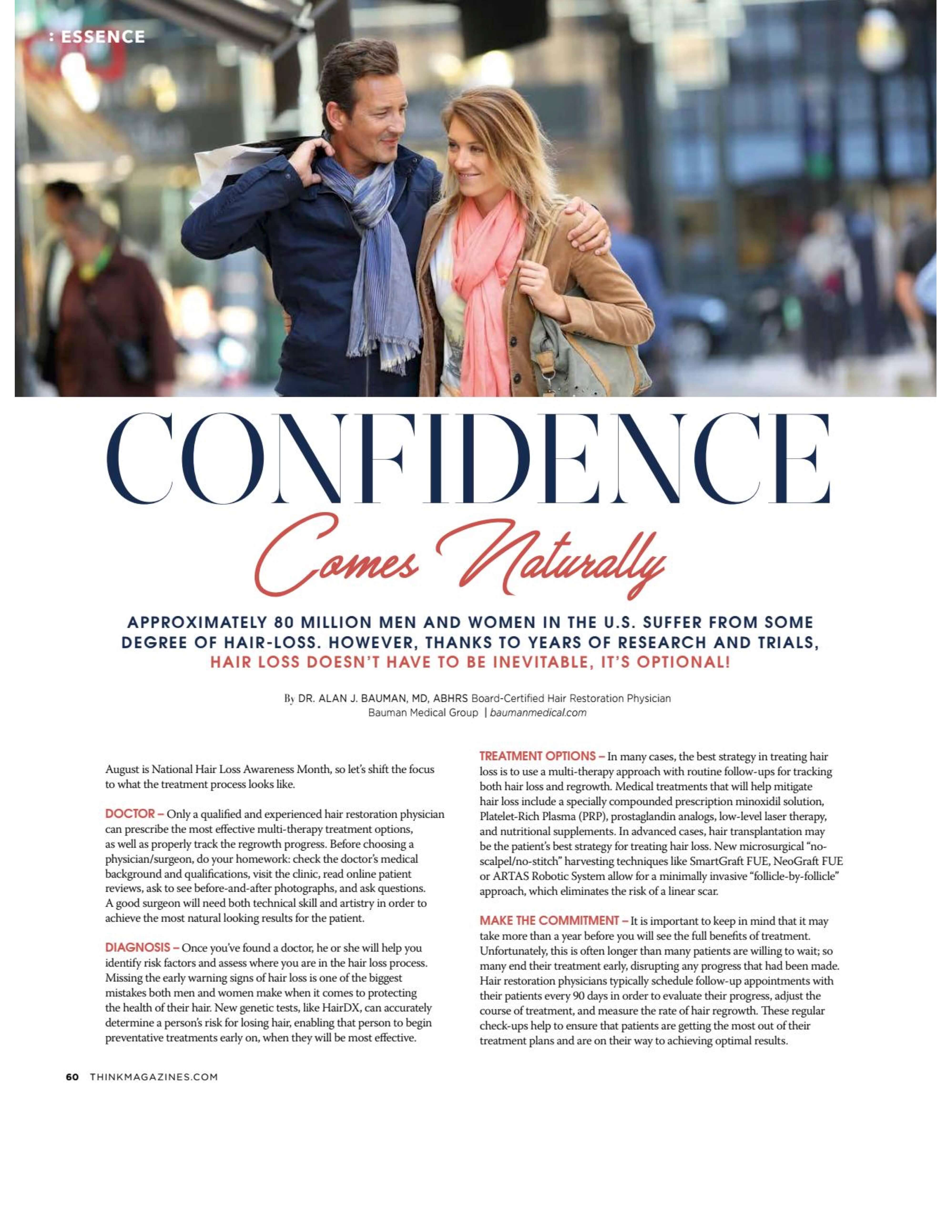 Think Magazine August Dralanbauman Hair Restoration Article 232x300 Confidence Comes Naturally W
