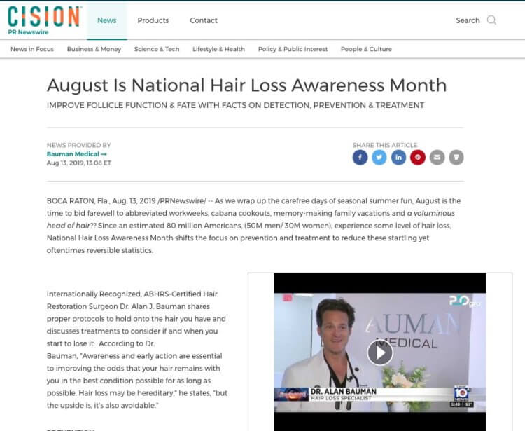 PRESS RELEASE: August is National Hair Loss Awareness Month – Detection Prevention and Treatment
